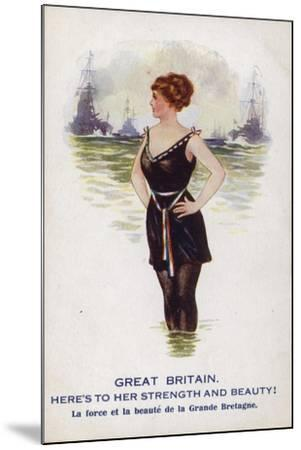 Great Britain as a Female Figure Standing in the Sea with Ships--Mounted Giclee Print