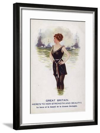 Great Britain as a Female Figure Standing in the Sea with Ships--Framed Giclee Print