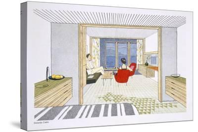 A Veranda Cabin Aboard the SS Oriana, from a Promotional Brochure--Stretched Canvas Print
