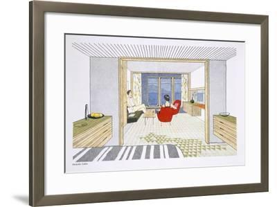 A Veranda Cabin Aboard the SS Oriana, from a Promotional Brochure--Framed Giclee Print