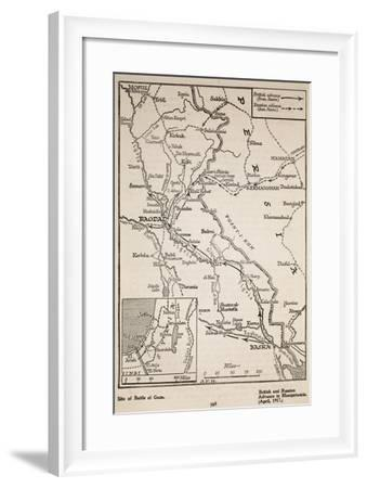 British and Russian Advance in Mesopotamia, April 1917--Framed Giclee Print