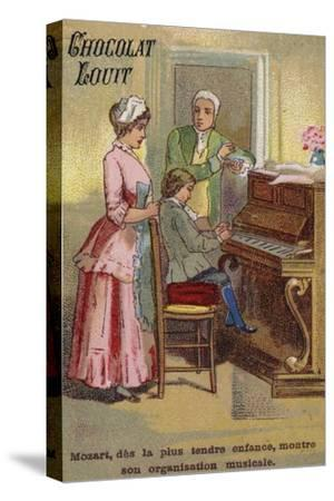 The Very Young Mozart Displaying His Musical Talents--Stretched Canvas Print