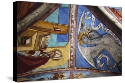 Frescoes in St George Chapel, Basilica of St Romedius--Stretched Canvas Print