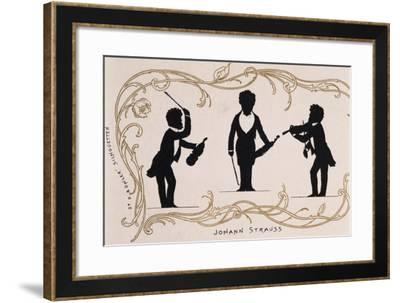 Silhouette in Black, Caricature of Johann Strauss--Framed Giclee Print