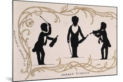 Silhouette in Black, Caricature of Johann Strauss--Mounted Giclee Print