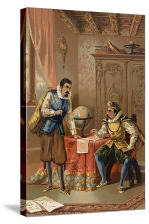 Johannes Kepler and Tycho Brahe at the Prague Observatory, C1600--Stretched Canvas Print