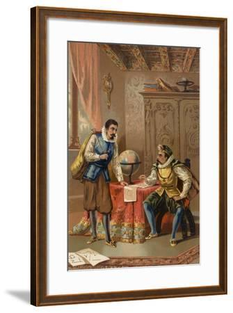 Johannes Kepler and Tycho Brahe at the Prague Observatory, C1600--Framed Giclee Print
