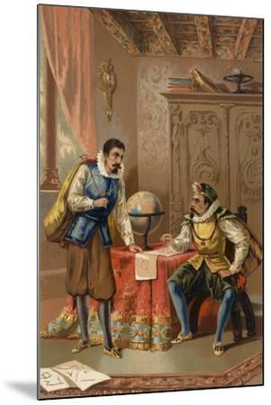 Johannes Kepler and Tycho Brahe at the Prague Observatory, C1600--Mounted Giclee Print
