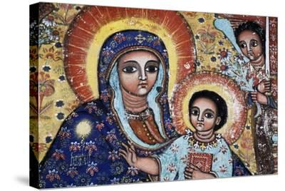 Virgin and Child, Detail, Fresco, Church of Narga Selassie--Stretched Canvas Print
