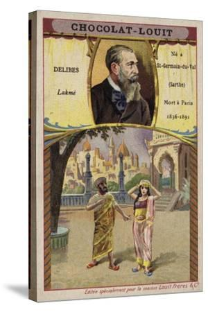 Leo Delibes, French Composer, and a Scene from His Opera Lakme--Stretched Canvas Print