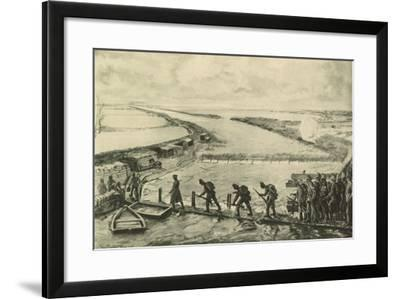 Troops of the Marines Getting into Position, Walking over the Yser--Framed Giclee Print