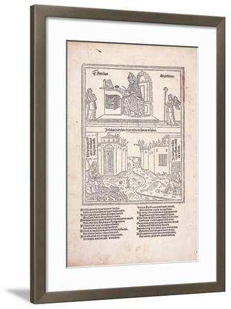 St. Augustine at His Desk and the Cities of Babylon and Zion, 1489--Framed Giclee Print