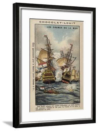 French Privateer Jean Bart Attacking the Dutch, 1694--Framed Giclee Print