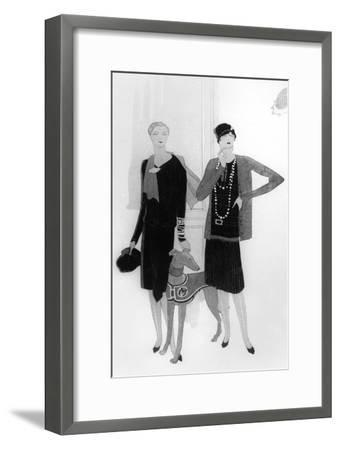 Dress Designs by Chanel, Illustration from 'Vogue' Magazine, 1 April, 1927--Framed Premium Giclee Print