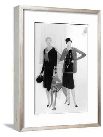 Dress Designs by Chanel, Illustration from 'Vogue' Magazine, 1 April, 1927--Framed Giclee Print