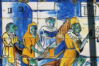 Man Playing an Organ, Azulejos Tiles, Palace of Marquises of Fronteira--Framed Giclee Print