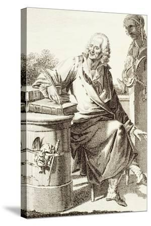 Portrait of Voltaire, Pseudonym of Francois-Marie Arouet--Stretched Canvas Print