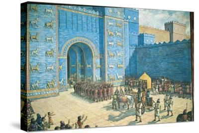 Illustration of the Ishtar Gate in Ancient Babylon--Stretched Canvas Print