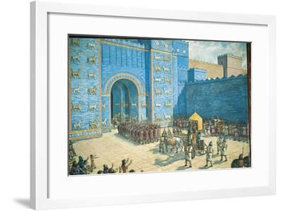 Illustration of the Ishtar Gate in Ancient Babylon--Framed Giclee Print