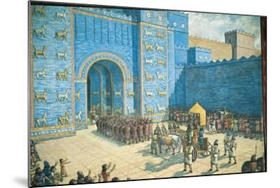 Illustration of the Ishtar Gate in Ancient Babylon--Mounted Giclee Print