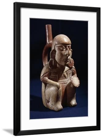 Terracotta Vase in Shape of Warrior, Moche or Mochica Culture--Framed Giclee Print