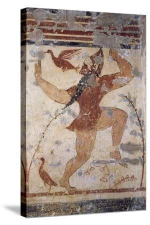 Phersu, Bearded Male Figure with Mask, Fresco of the Tomb of the Augurs--Stretched Canvas Print