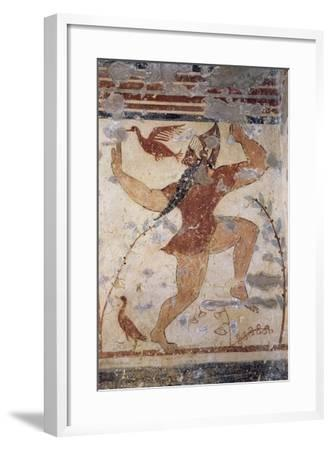 Phersu, Bearded Male Figure with Mask, Fresco of the Tomb of the Augurs--Framed Giclee Print