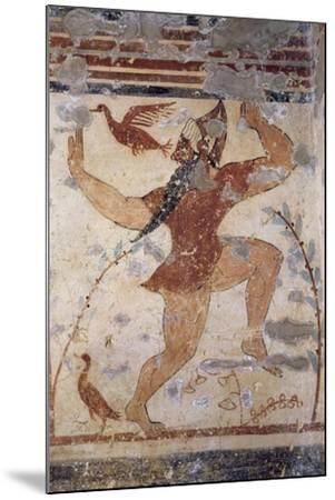 Phersu, Bearded Male Figure with Mask, Fresco of the Tomb of the Augurs--Mounted Giclee Print