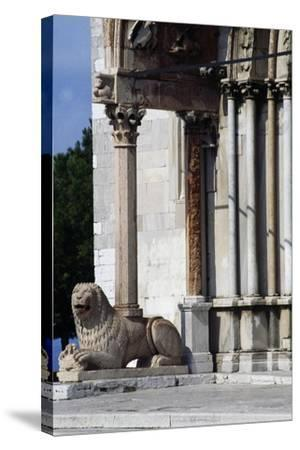 Column-Bearing Lion on Facade of Church of San Cyriacus--Stretched Canvas Print