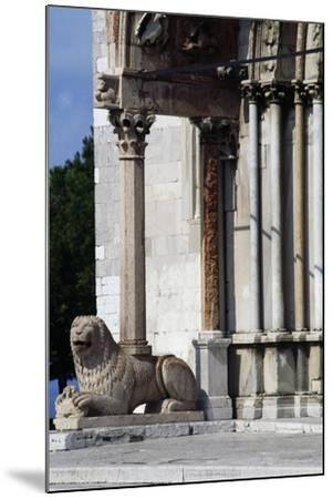 Column-Bearing Lion on Facade of Church of San Cyriacus--Mounted Giclee Print