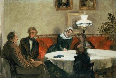 Evening Meeting, the Maerker Family, Menzel and His Sister at the Table--Framed Giclee Print