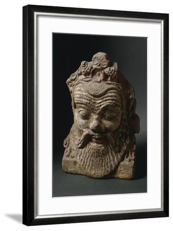 Male Head in Terracotta from Lavinio, Lazio, Italy--Framed Giclee Print