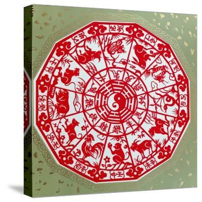 Chinese Papercut Depicting the Twelve Signs of the Zodiac, C.1980--Stretched Canvas Print