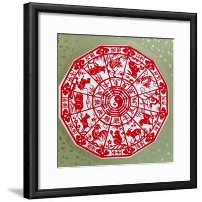 Chinese Papercut Depicting the Twelve Signs of the Zodiac, C.1980--Framed Giclee Print