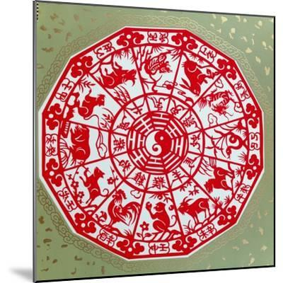 Chinese Papercut Depicting the Twelve Signs of the Zodiac, C.1980--Mounted Giclee Print