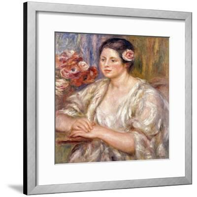 Madeleine in a White Blouse and Bouquet of Flowers, C.1915-1919-Pierre-Auguste Renoir-Framed Giclee Print