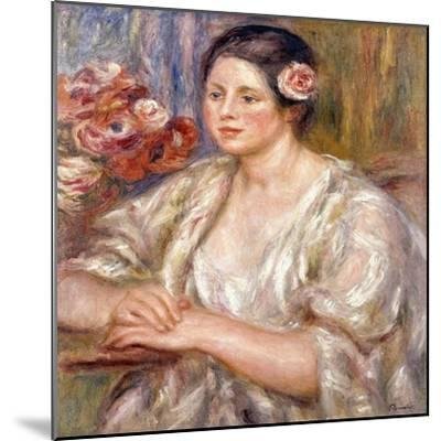 Madeleine in a White Blouse and Bouquet of Flowers, C.1915-1919-Pierre-Auguste Renoir-Mounted Giclee Print