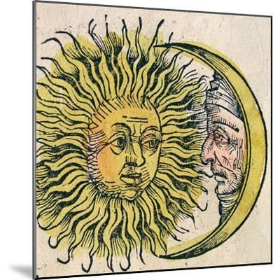 The Sun and Moon, Published in the Nuremberg Chronicle, 1493--Mounted Giclee Print