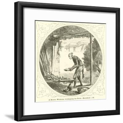 A Hindoo Workman Worshipping His Tools, Habakkuk, I, 16--Framed Giclee Print