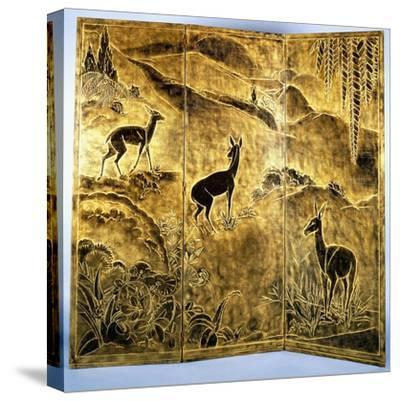 A Three-Fold Lacquer Screen, Depicting Deer in a Landscape of Hills-Jean Dunand-Stretched Canvas Print