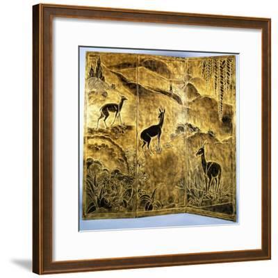 A Three-Fold Lacquer Screen, Depicting Deer in a Landscape of Hills-Jean Dunand-Framed Giclee Print