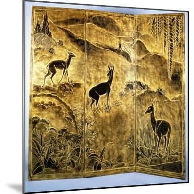 A Three-Fold Lacquer Screen, Depicting Deer in a Landscape of Hills-Jean Dunand-Mounted Giclee Print