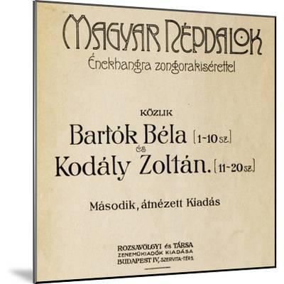 Title Page of First Edition of Folk Songs-Zoltan Kodaly-Mounted Giclee Print