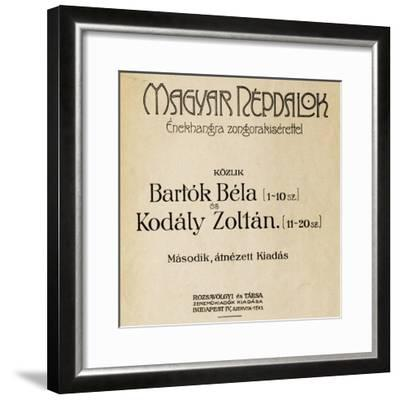 Title Page of First Edition of Folk Songs-Zoltan Kodaly-Framed Giclee Print
