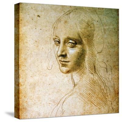 Study for the Angel of the Virgin of the Rocks-Leonardo da Vinci-Stretched Canvas Print
