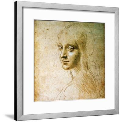 Study for the Angel of the Virgin of the Rocks-Leonardo da Vinci-Framed Premium Giclee Print