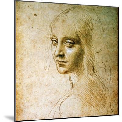 Study for the Angel of the Virgin of the Rocks-Leonardo da Vinci-Mounted Premium Giclee Print