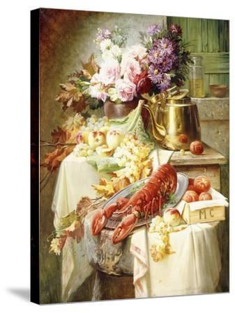 Still Life with a Lobster and Assorted Fruit and Flowers-Modeste Carlier-Stretched Canvas Print
