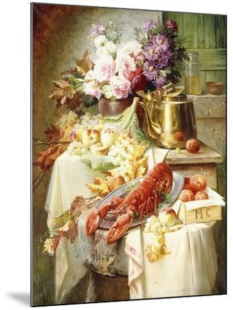 Still Life with a Lobster and Assorted Fruit and Flowers-Modeste Carlier-Mounted Giclee Print