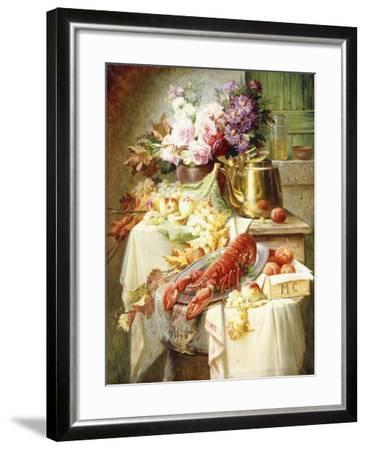 Still Life with a Lobster and Assorted Fruit and Flowers-Modeste Carlier-Framed Giclee Print